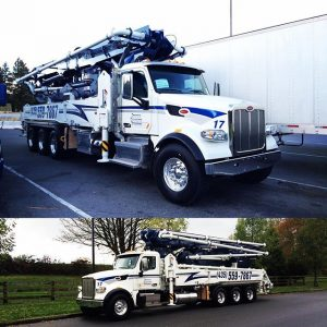 Two views of new concrete pumper truck