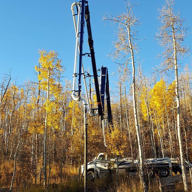 Pumper truck extending boom over quaking aspen trees