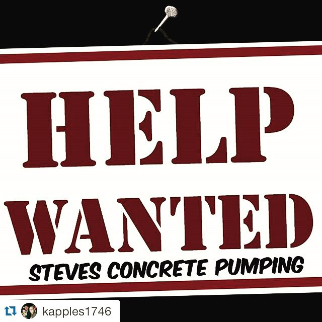 Steve's Concrete Pumping help wanted sign