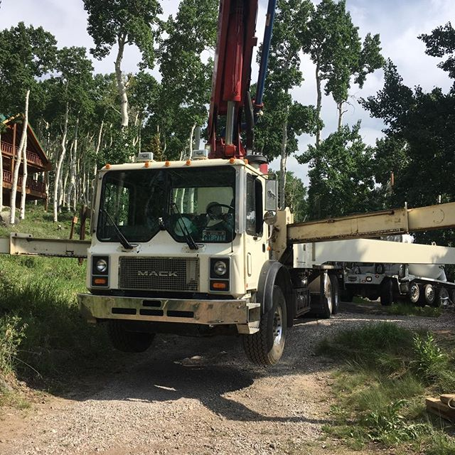 Outriggers extended to pour in remote location