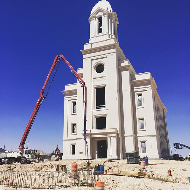 Pouring footings for retaining walls at the Cedar City LDS Temple