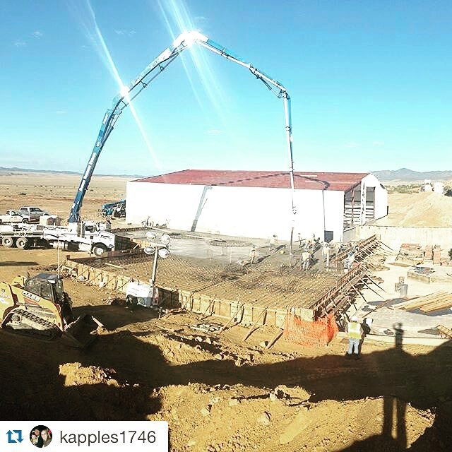 Pouring a large slab at industrial site